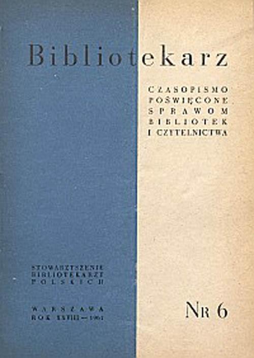 Okładka Bibliotekarz 1961, nr 6