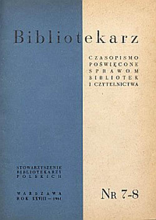 Okładka Bibliotekarz 1961, nr 7-8