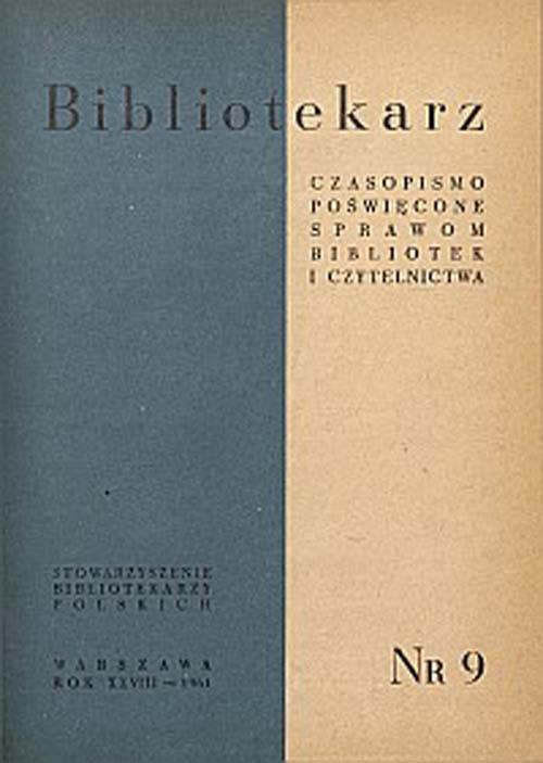 Okładka Bibliotekarz 1961, nr 9