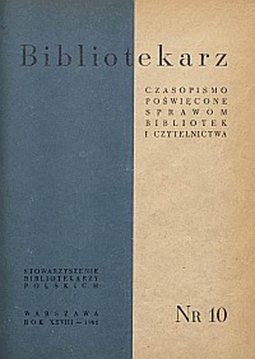 Okładka Bibliotekarz 1961, nr 10