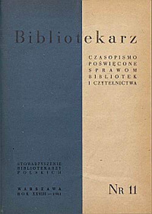 Okładka Bibliotekarz 1961, nr 11