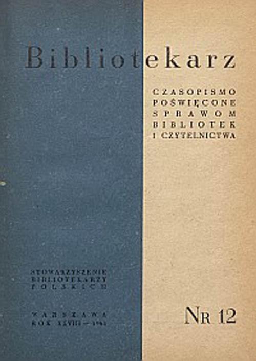 Okładka Bibliotekarz 1961, nr 12
