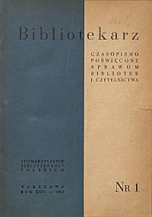 Okładka Bibliotekarz 1962, nr 1