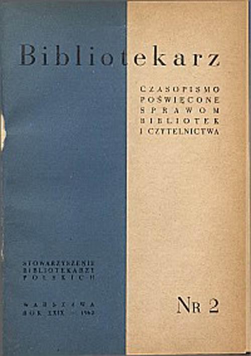 Okładka Bibliotekarz 1962, nr 2