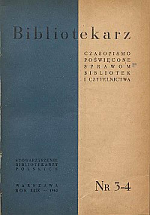 Okładka Bibliotekarz 1962, nr 3-4