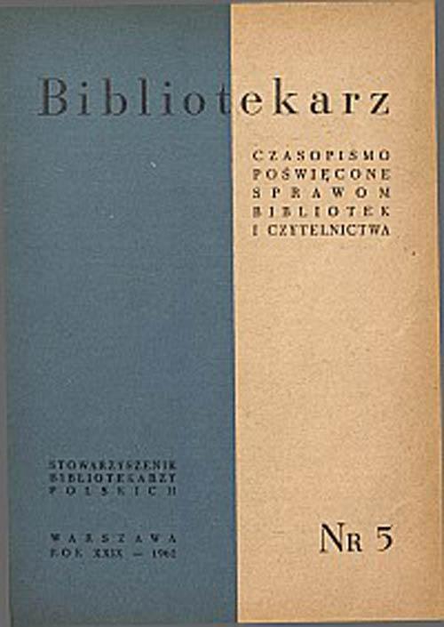 Okładka Bibliotekarz 1962, nr 5