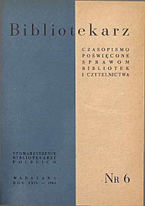 Okładka Bibliotekarz 1962, nr 6