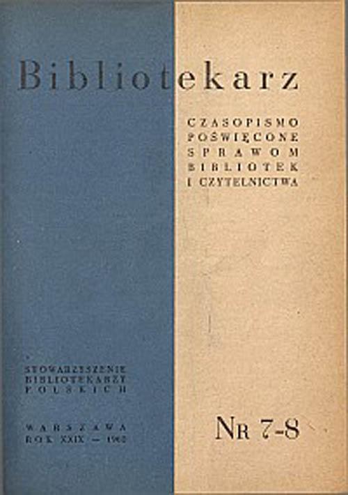 Okładka Bibliotekarz 1962, nr 7-8