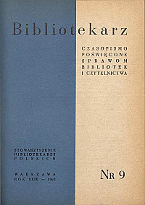 Okładka Bibliotekarz 1962, nr 9