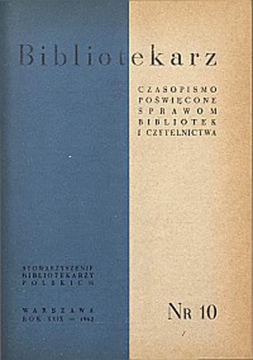 Okładka Bibliotekarz 1962, nr 10