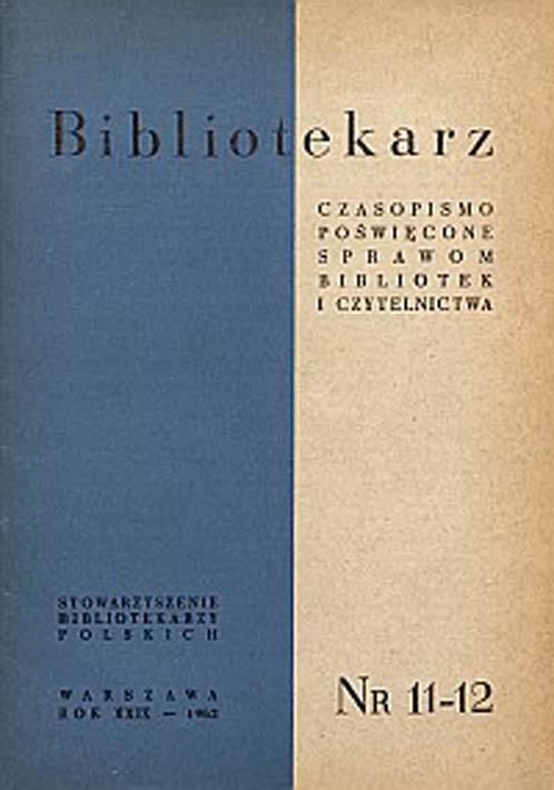 Okładka Bibliotekarz 1961, nr 11-12