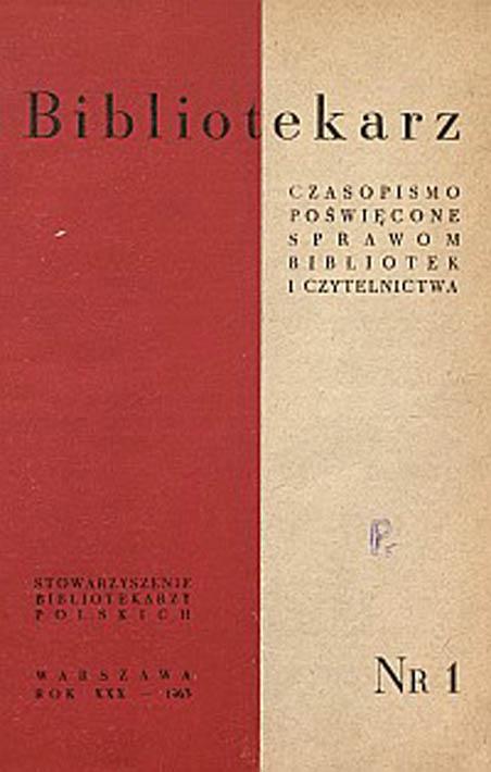 Okładka Bibliotekarz 1963, nr 1
