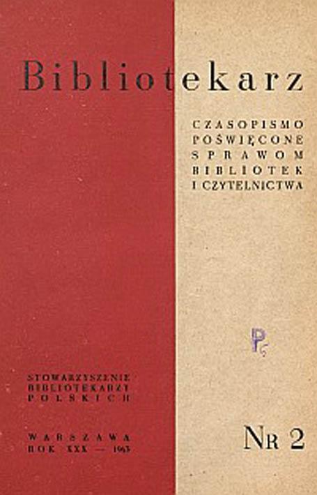 Okładka Bibliotekarz 1963, nr 2