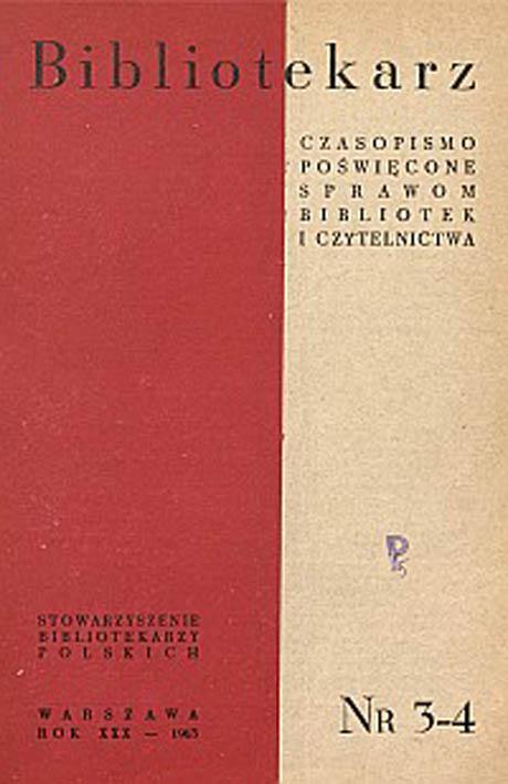 Okładka Bibliotekarz 1963, nr 3-4