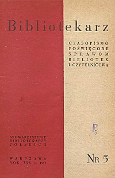 Okładka Bibliotekarz 1963, nr 5