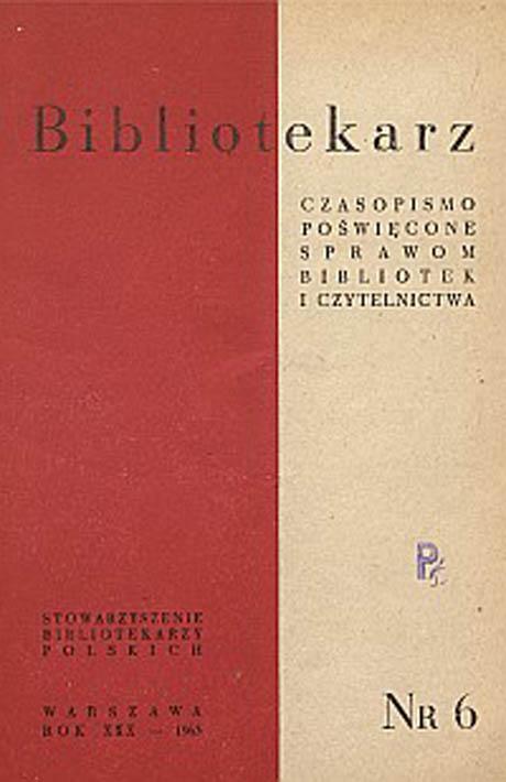 Okładka Bibliotekarz 1963, nr 6