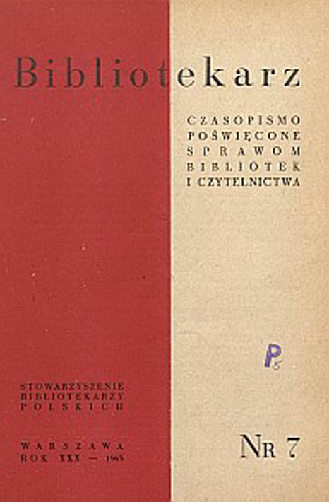 Okładka Bibliotekarz 1963, nr 7