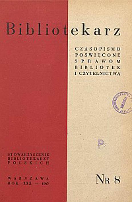 Okładka Bibliotekarz 1963, nr 8