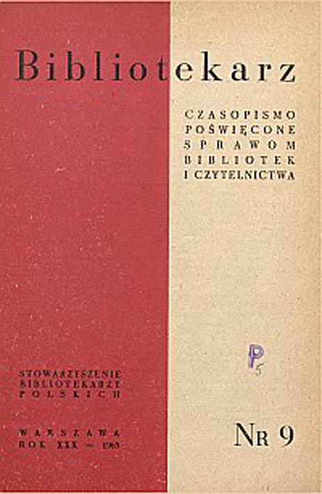 Okładka Bibliotekarz 1963, nr 9