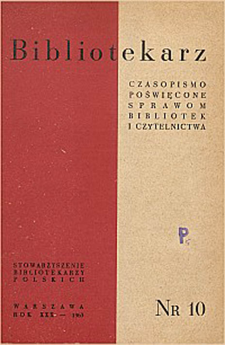 Okładka Bibliotekarz 1963, nr 10