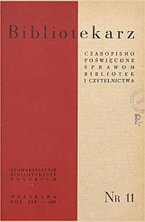 Okładka Bibliotekarz 1963, nr 11