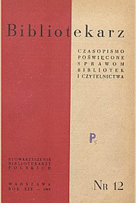 Okładka Bibliotekarz 1963, nr 12