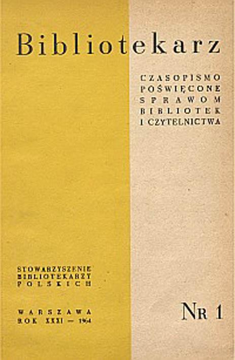 Okładka Bibliotekarz 1964, nr 1