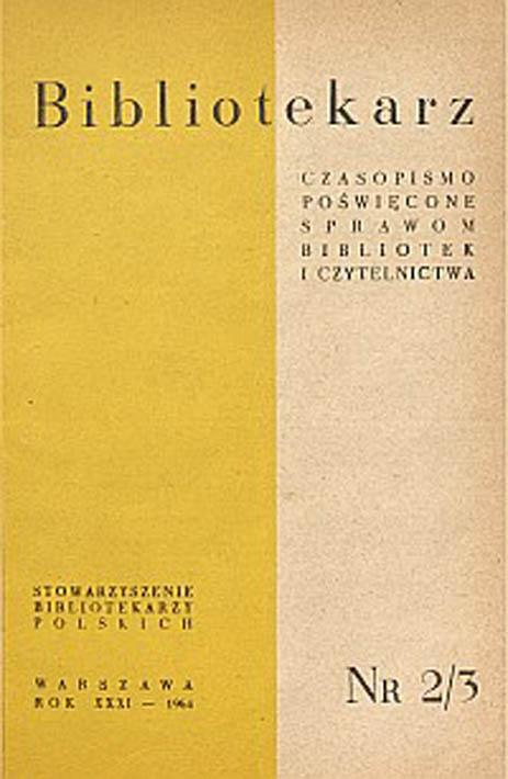 Okładka Bibliotekarz 1964, nr 2-3