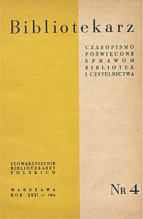 Okładka Bibliotekarz 1964, nr 4