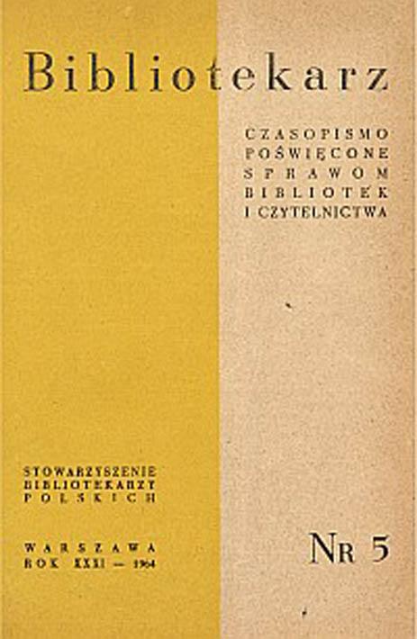 Okładka Bibliotekarz 1964, nr 5