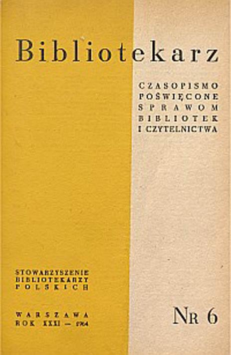 Okładka Bibliotekarz 1964, nr 6