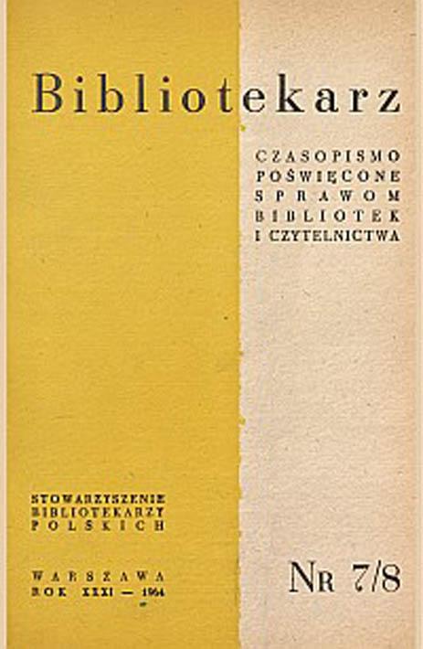 Okładka Bibliotekarz 1964, nr 7-8