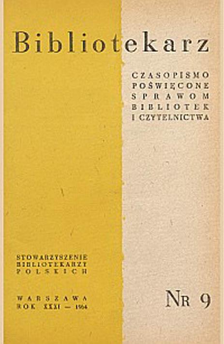Okładka Bibliotekarz 1964, nr 9