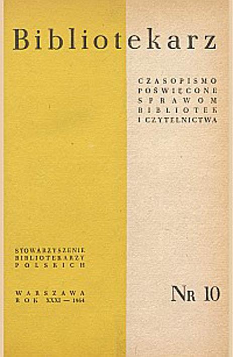 Okładka Bibliotekarz 1964, nr 10