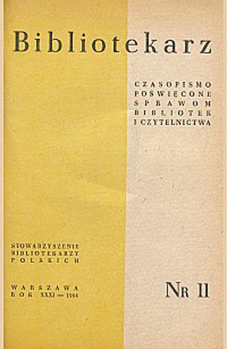 Okładka Bibliotekarz 1964, nr 11