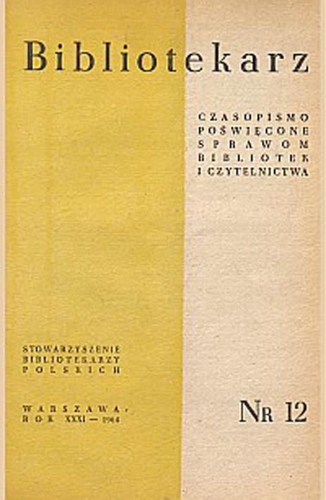 Okładka Bibliotekarz 1964, nr 12