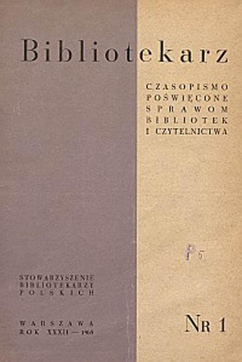 Okładka Bibliotekarz 1965, nr 1