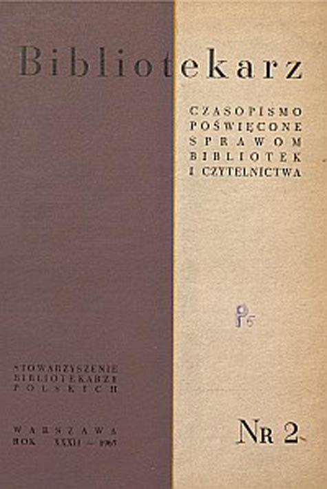Okładka Bibliotekarz 1965, nr 2