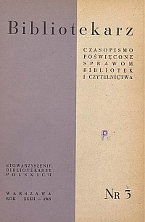 Okładka Bibliotekarz 1965, nr 3