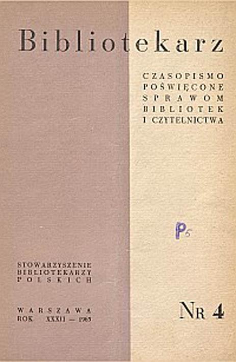 Okładka Bibliotekarz 1965, nr 4