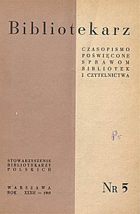 Okładka Bibliotekarz 1965, nr 5