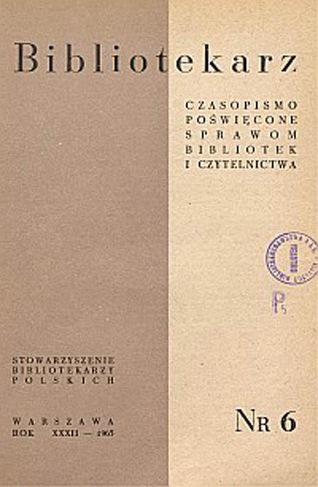 Okładka Bibliotekarz 1965, nr 6