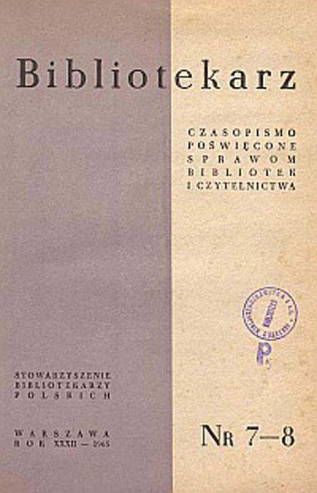 Okładka Bibliotekarz 1965, nr 7-8