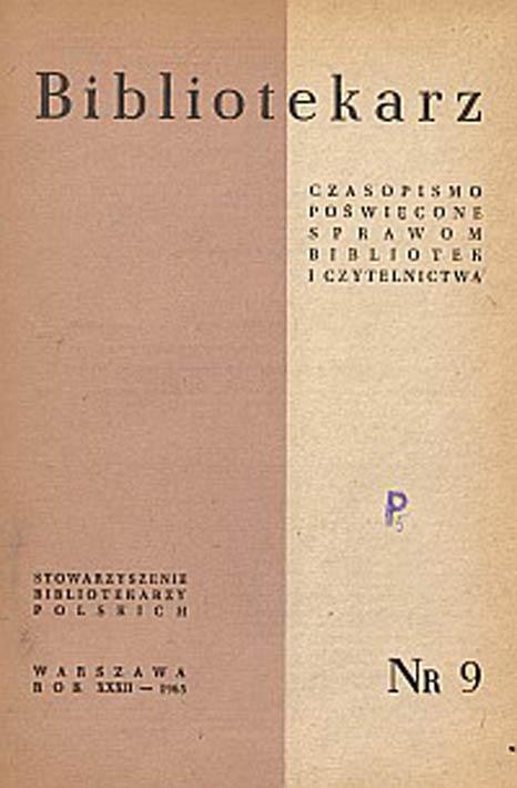 Okładka Bibliotekarz 1965, nr 9