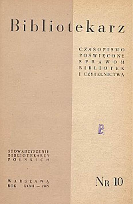Okładka Bibliotekarz 1965, nr 10