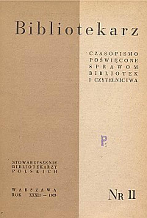 Okładka Bibliotekarz 1965, nr 11