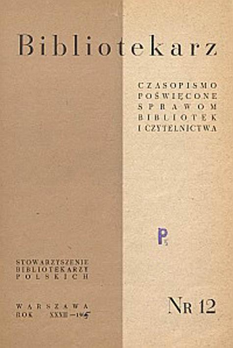 Okładka Bibliotekarz 1965, nr 12