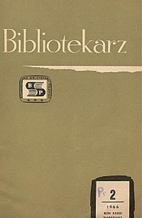 Okładka Bibliotekarz 1966, nr 2