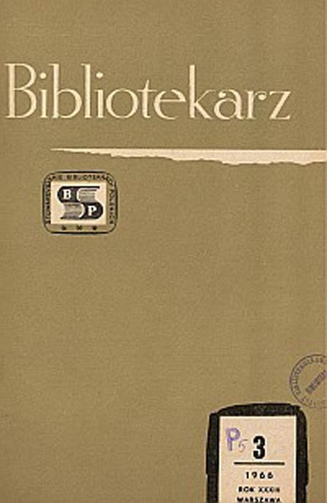 Okładka Bibliotekarz 1966, nr 3