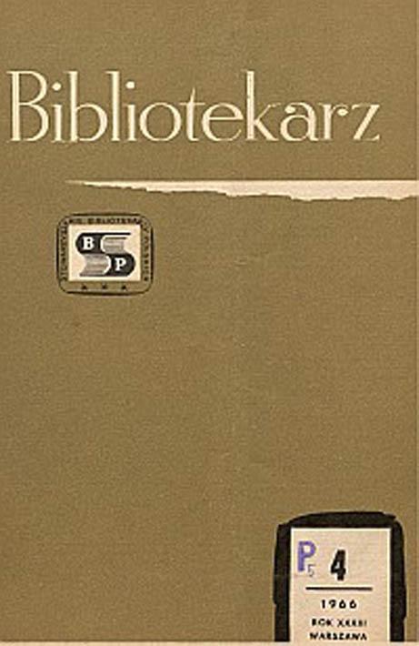 Okładka Bibliotekarz 1966, nr 4